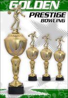 3er BOWLING Pokale Pokalserie Pokal Bowling GOLDEN PRESTIGE mit Gravur + Figur