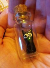 Jiji cat Studio Ghibli in a mini glass bottle with cork. Kikis Delivery Service