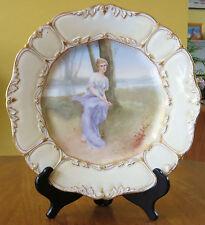 Superb Antique Hand Painted Porcelain Portrait Plate Woman at Creek T&V Limoges