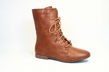 Women's Fashion Low Flat Heel Lace Up Round Toe Faux Leather Boot Size 5.5 - 11