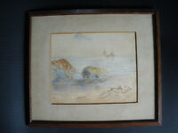 old original small watercolour painting signed and dated 1901 antique picture