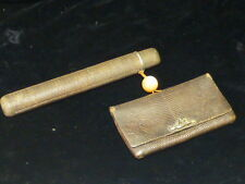 Japanese Meiji Period Leather Tobacco Pouch & Kiseru -  Zutsu Pipe Case