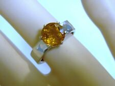 9mm NATURAL 3ct Madeira golden yellow Citrine 925 sterling ring size 7.5 USA