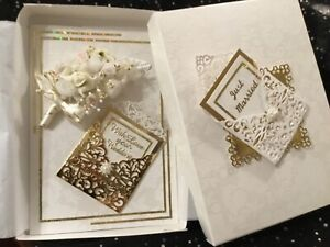 BOXED WEDDING DAY /ANNIVERSARY HANDMADE / IVEORY & GOLD /BIRTHDAY MOTHERS DAY