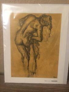 Vintage Edgar Degas Nude Sketch On Canvas Print X796 Lambert Studios USA 12x9