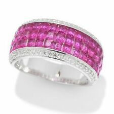 Meher's Jewelry Invisible Set Simulated Ruby Gemstone Eternity Ring Size 7 & 8