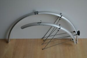 Vintage 90's Silver Colour Full Length Mudguards 37mm Pair with Rear Reflector