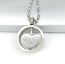 Silver Chrome Stainless Steel Round Love Heart Pendant Womens Chain Necklace