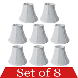 """Set of 8 Clip On 5"""" Small Bell Candelabra Shades for Chandelier (White)"""