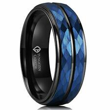 8mm Blue Hammered Tungsten Carbide Ring Black Two Tone Mens Wedding Band Groove
