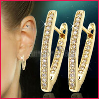 18K GOLD GF SOLID WOMENS ANNIVERSARY HOOP EARRINGS made with SWAROVSKI CRYSTALS