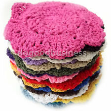 """4""""Round Lotus Floral Hand Crochet Doilies Cup Coasters Mug Rugs Cotton Appliques"""