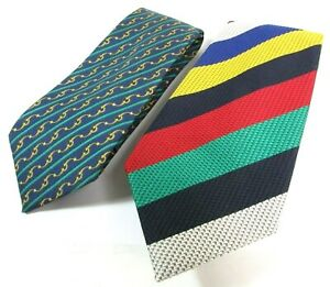 Hermes Tie Blue Chain Link 100% Silk & Bullock & Jones Woven Strip Tie Lot