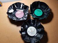 Lot of (3)  Beatles, John Lennon  Vinyl record bowl  Vintage LP... REAL RECORDS!