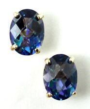 Neptune Garden Topaz, 14KY Gold Post Earrings, E002