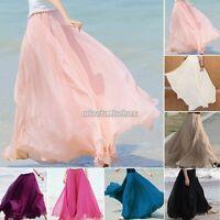New Women Double Layer Chiffon Pleated Beach Long Maxi Dress Elastic Waist Skirt