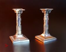 1909 Pair of Candle Holders Neoclassical Corinthian Columns /372 gr