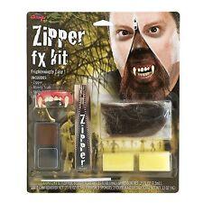 Halloween Hombre lobo Colmillos Dientes De Cremallera Cremallera Cara Kit Especial Fx Maquillaje Demonio