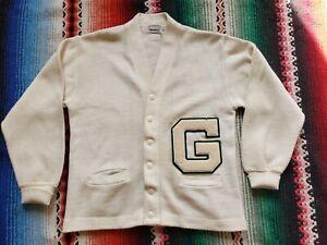 Vintage 60's CAMPUS Letterman Cardigan Orlon Sweater White Green Size Large