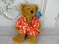 """Plushland March of Dimes Tommy Teddy Bear Plush Hawaiian Brown Stuffed Animal 8"""""""