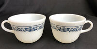 Pyrex Milk Glass Old Town Blue Onion 1410 Coffee Tea Cups Mugs Corning Lot Of 2