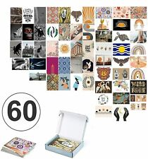 60 Piece Wall Collage Kit with Cardstock Prints & Glue Dots, Boho Aesthetic Pict