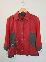 Gabrielle Frattini Burnt Orange FUNKY Button Up Blouse Shirt Top Women's Size 8
