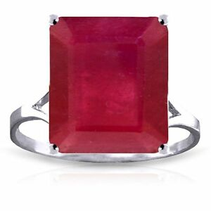 Genuine Ruby 7.5 ct Emerald Cut Gem Solitaire Ring 14K. Yellow, White, Rose Gold