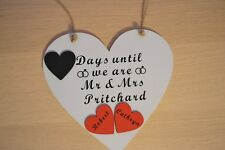 Heart shaped Handmade Countdown Plaque Sign Chalkboard days until our wedding