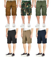 Men's Cotton Twill Casual Slim Fit Cargo Military Camo Shorts With Woven Belt