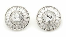 Zest Swarovski Crystal Stud Style Pierced Earrings Clear and Silver