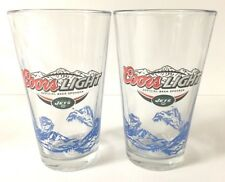 Coors Light New York Jets 16 oz Pint Glass - Set of Two (2) Beer Glasses - New