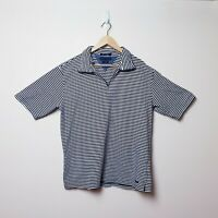 Tommy Hilfiger Mens Size XL Vintage Navy blue striped stretch Polo shirt 1/4 zip