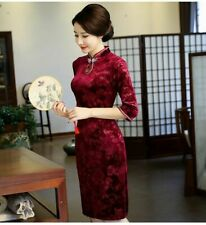Chinese Vintage Velvet Cheongsam QiPao Lady Long Evening Formal Party Dress New