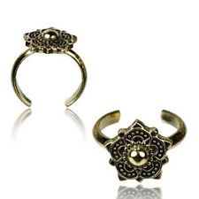 Mandala Flower Mid-Ring Ornate Boho Gypsy Solid Brass Tribal Toe Ring Adjustable