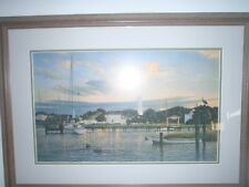 framed, matted print, Ocracoke Island harbor lighthouse boats Phillip Philbeck