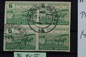 K All. Besetzung SBZ Provinz Sachsen PF 85 VI Viererblock gest., unten rechts