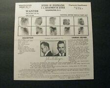 *1934 RARE ORIGINAL JOHN DILLINGER FBI WANTED POSTER – J. EDGAR HOOVER*
