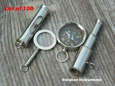 LOT OF 100 CHROME FINISH 25 EACH TELESCOPE,COMPASS,HOUR GLASS,MAGNIFYING GLASS
