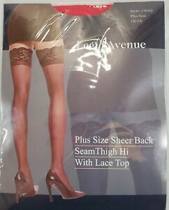 Leg Avenue Sheer Stocking W Back Seam Lace Top 1x 3x Halloween Thigh High Lace