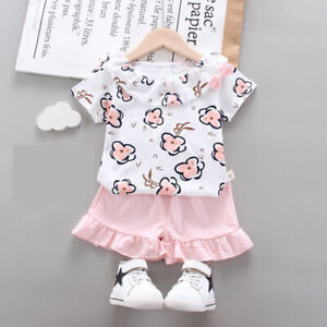 Baby Kids Girls Summer Flower Shirt Tops+ Shorts Set Casual Outfit Suit Clothes