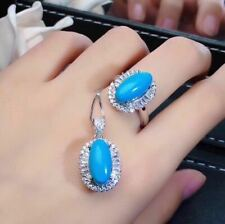 Certified Blue Turquoise 925 Sterling Silver and Platinum Ring Pendant Set+Chain