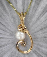 Genuine Pearl Pendant Necklace in 14kt Rolled Gold With Chain