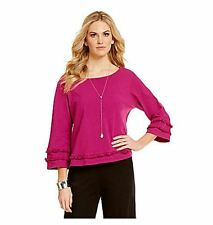 Bryn Walker Dragonfruit Pink Cotton Louisa Shirt Top L