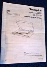 Panasonic Technics SL-BD22D Instruction Book / Manual  Part No RQT3089-B