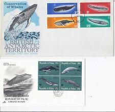 1977 British Antarctic Territory 64-67 & 1983 Palau 27a FDC Lot of 2 - Whales*