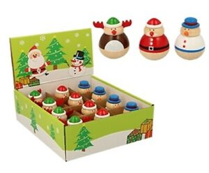 1 X 6cm Wooden Christmas Roly-Poly Xmas Gift Toy Santa Reindeer Snowman