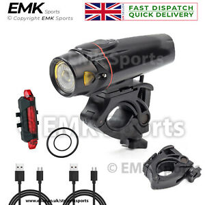Handlebar LED USB Rechargeable Bicycle Light Set Head and Tail Water-Resistant