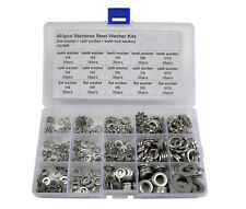 460pcs 5 Sizes Stainless Steel Flat, Tooth, Lock Washer Assortment Kit M4 - M10.