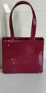 AUTHENTIC CHANEL limited edition Fuchsia Patent leather medium TOTE bag, made in